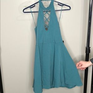 Express Coral Green Blue Mini Dress Over the Head